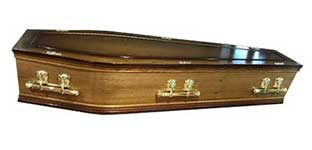 York Minster coffin - An oak veneered coffin with shaded mahogany edging.