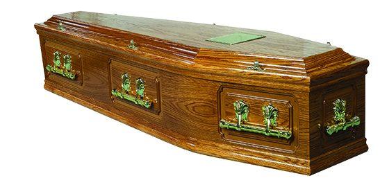 Kinder high-gloss oak coffin