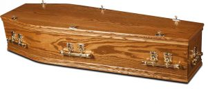 A solid oak casket offering England's finest craftmanship. Raised lid with bar handles.